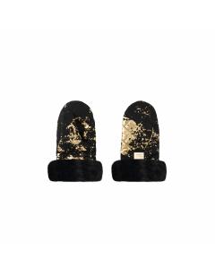 Luxe kinderwagen handschoenen zwart met goud