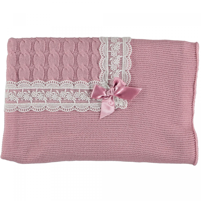 Oud roze babydeken met strik