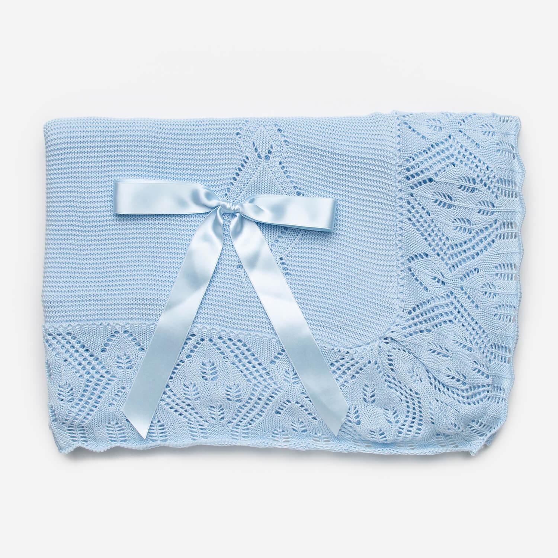 Blauwe babydeken met strik 110x120cm