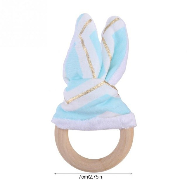Houten bijtring bunny ears mintgroen