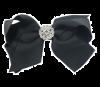 Zwarte strik haarclip met strass steentjes